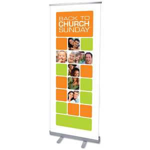 "Back to Church Blocks 2'7"" x 6'7""  Vinyl Banner"