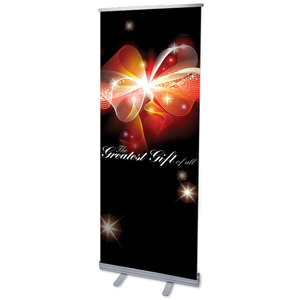 "Glowing Christmas Bow 2'7"" x 6'7""  Vinyl Banner"