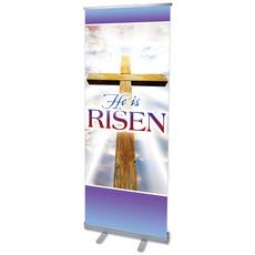 Rugged Risen Cross Banner