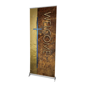 "Leather Welcome 2'7"" x 6'7""  Vinyl Banner"