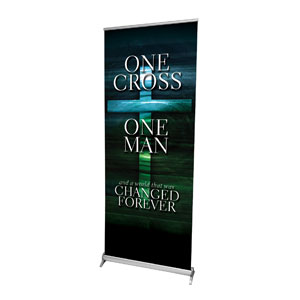 "One Cross M 2'7"" x 6'7""  Vinyl Banner"