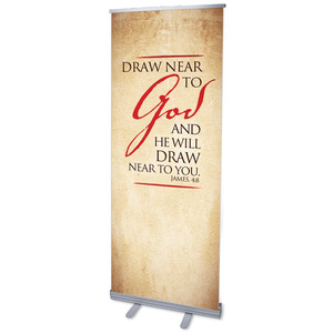 "Red Script James 4:8 2'7"" x 6'7""  Vinyl Banner"