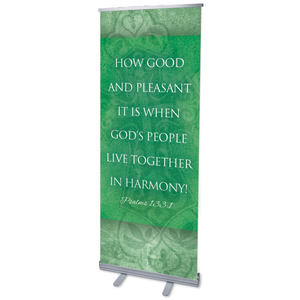 "Cross Ps 133:1 2'7"" x 6'7""  Vinyl Banner"