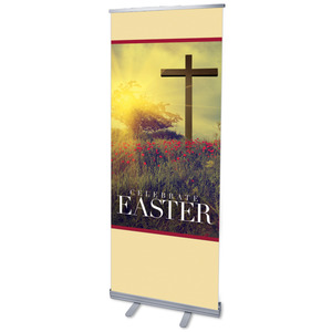 "Celebrate Easter Cross 2'7"" x 6'7""  Vinyl Banner"