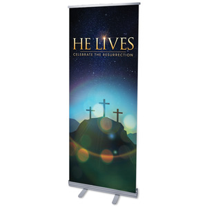 "He Lives Crosses 2'7"" x 6'7""  Vinyl Banner"