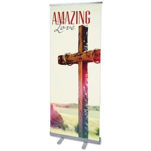 "Amazing Love Cross 2'7"" x 6'7""  Vinyl Banner"