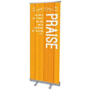 "Painted Wood Praise 2'7"" x 6'7""  Vinyl Banner"
