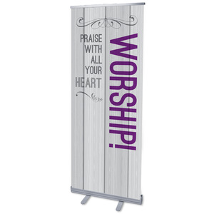 "Painted Wood Worship 2'7"" x 6'7""  Vinyl Banner"