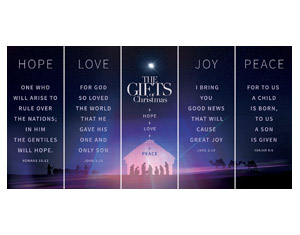 "The Gifts of Christmas Advent 5 Banner Set 2'7"" x 6'7""  Vinyl Banner"