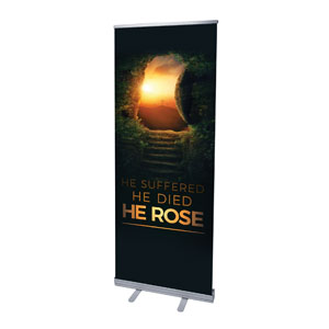"Suffered Died Rose 2'7"" x 6'7""  Vinyl Banner"