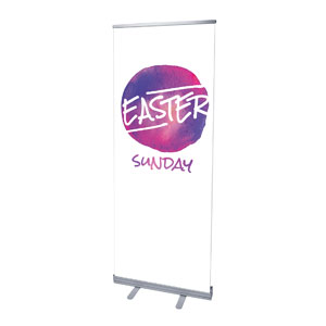 "Watercolor Circle Easter 2'7"" x 6'7""  Vinyl Banner"