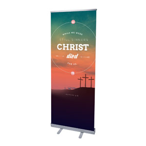 "Christ Died For Us 2'7"" x 6'7""  Vinyl Banner"