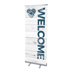 "Shiplap Welcome White 2'7"" x 6'7""  Vinyl Banner"