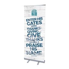 Shiplap Psalm 100:4 White Banner