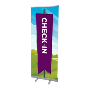"Bright Meadow Check In 2'7"" x 6'7""  Vinyl Banner"