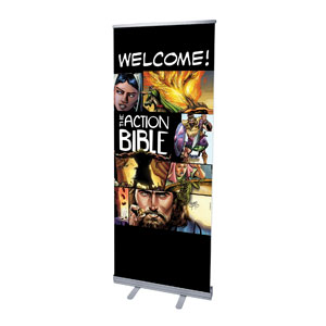 "The Action Bible 2'7"" x 6'7""  Vinyl Banner"