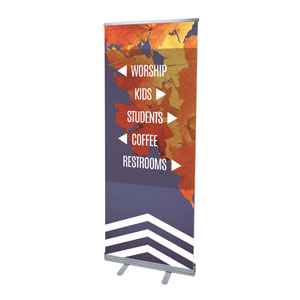 "Chevron Welcome Fall Directional 2'7"" x 6'7""  Vinyl Banner"