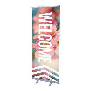 "Chevron Welcome Spring 2'7"" x 6'7""  Vinyl Banner"