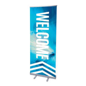 "Chevron Welcome Blue 2'7"" x 6'7""  Vinyl Banner"
