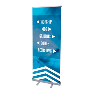 "Chevron Welcome Blue Directional 2'7"" x 6'7""  Vinyl Banner"