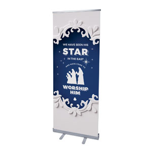 "Paper Cut Out Christmas Blue 2'7"" x 6'7""  Vinyl Banner"