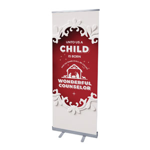 "Paper Cut Out Christmas Red 2'7"" x 6'7""  Vinyl Banner"