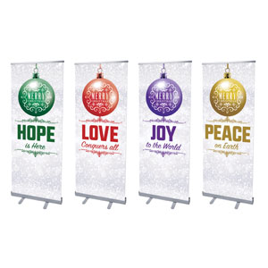 "Silver Snow Advent Ornaments 2'7"" x 6'7""  Vinyl Banner"