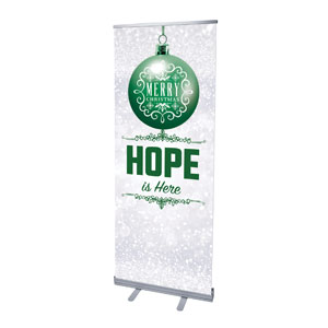 "Silver Snow Hope Ornament 2'7"" x 6'7""  Vinyl Banner"