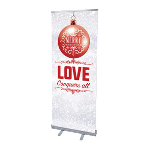 "Silver Snow Love Ornament 2'7"" x 6'7""  Vinyl Banner"