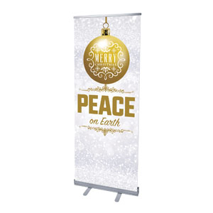 "Silver Snow Peace Ornament 2'7"" x 6'7""  Vinyl Banner"