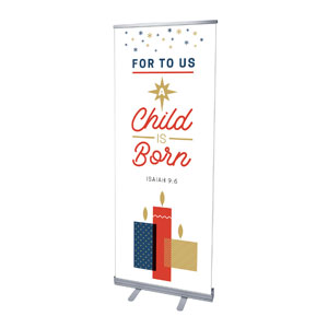 "Stamped Christmas Child Born 2'7"" x 6'7""  Vinyl Banner"