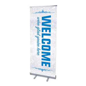 "Silver Snow Welcome 2'7"" x 6'7""  Vinyl Banner"