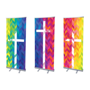 "Bright Chevron Crosses 2'7"" x 6'7""  Vinyl Banner"