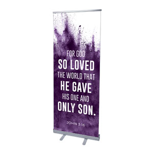 "Purple Powder John 3:16 2'7"" x 6'7""  Vinyl Banner"