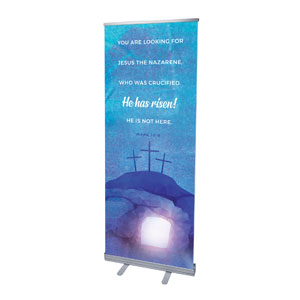 "Blue Purple Easter Tomb 2'7"" x 6'7""  Vinyl Banner"