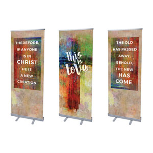 "This is Love 2 Cor 5:17 2'7"" x 6'7""  Vinyl Banner"