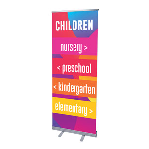 "Curved Colors Children Directional 2'7"" x 6'7""  Vinyl Banner"