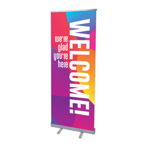 "Curved Colors Welcome 2'7"" x 6'7""  Vinyl Banner"