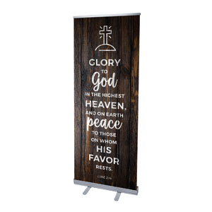 "Dark Wood Luke 2:14 2'7"" x 6'7""  Vinyl Banner"