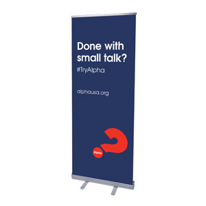 "Alpha Small Talk Navy 2'7"" x 6'7""  Vinyl Banner"