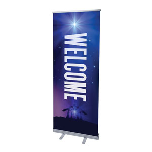 "Aurora Lights Christmas Welcome 2'7"" x 6'7""  Vinyl Banner"