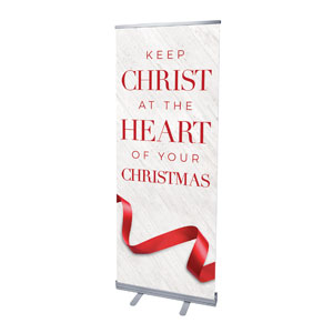 "Red Ribbon 2'7"" x 6'7""  Vinyl Banner"