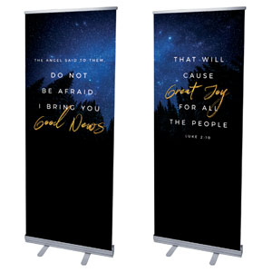 "Night Sky Gold Script Luke 2 2'7"" x 6'7""  Vinyl Banner"