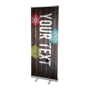 "Dark Wood Christmas Ornaments Your Text 2'7"" x 6'7""  Vinyl Banner"