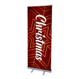 "Red and Gold Snowflake 2'7"" x 6'7""  Vinyl Banner"