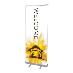 "Gold Powder Creche Welcome 2'7"" x 6'7""  Vinyl Banner"