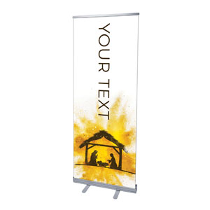 "Gold Powder Creche Your Text 2'7"" x 6'7""  Vinyl Banner"