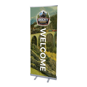 "Rocky Railway Welcome 2'7"" x 6'7""  Vinyl Banner"