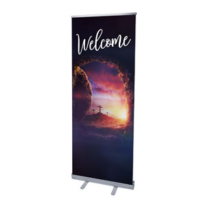 "Dramatic Tomb Easter Welcome 2'7"" x 6'7""  Vinyl Banner"