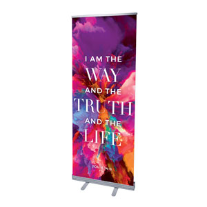 "Easter Color Smoke Scripture 2'7"" x 6'7""  Vinyl Banner"